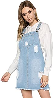 TwiinSisters Women's Casual Bib Straight Denim Jeans Ripped Adjustable Overall Dress Pinafore for Women