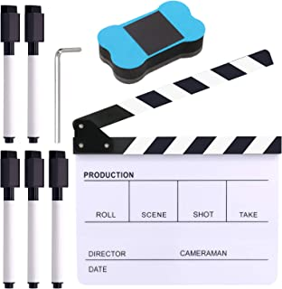 Glarks 8Pcs 10 x 12 inch Acrylic Film Directors Clapboard Set Hollywood Clapper Board Cut Action Scene Clapper Board with Eraser and Hex Wrench for Film Production and Film Theme Party