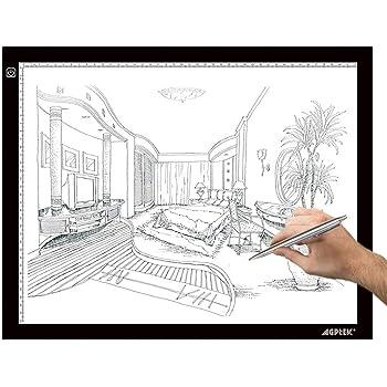 AGPTEK A3 Tableta de Luz, Drawing Pad Ultradelgada, Mesa de Luz de Dibujo LED con Panel Táctil Inteligente y Interfaz USB para Artistas, Dibujo, Animación - 47 cm x 37 cm: Amazon.es: Hogar