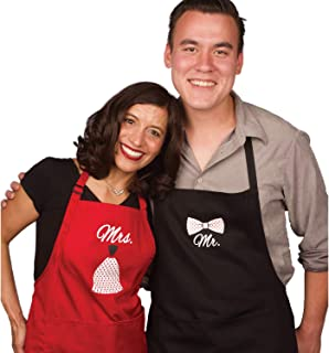 Mr Mrs Anniversary Gifts for Couple Apron & Bridal Shower Gifts - Man and Women 2 Piece Set - Perfect for Engagements, Weddings, Happy Anniversaries, Bridal Showers, Valentines Day