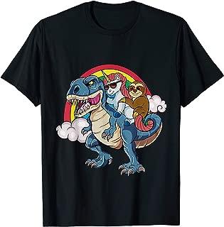 Magical Unicorn & Sloth Riding A Dinosaur Rainbow T Shirt