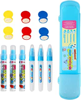 Ayeboovi Water Doodle Pens Water Mat Pens for Water Drawing Mat in 6 Pieces with 6 Stamps and 1 Storage Case Children's Day Gift