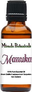 Miracle Botanicals Wildcrafted Manuka Essential Oil - 100% Pure Leptospermum Scoparium - 30% Triketones - 30ml/1oz.