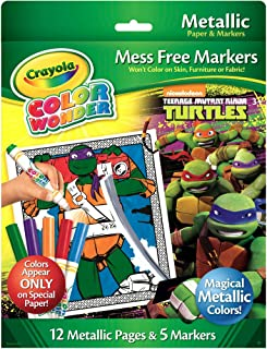 Crayola Color Wonder Nickelodeon Teenage Mutant Ninja Turtles Mess-Free Coloring Metallic Paper & Markers Set Art Gift for Kids & Toddlers 3 & Up, Won't Mark Walls, Clothes or Furniture, 17-Piece Set