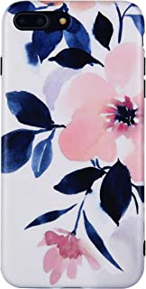 Selendis Flower iPhone 8 Plus case, iPhone 7 Plus Case, Peach Blossom TPU Floral Case Cover for iPhone 7P/8P Art Ink Painting Pink Rubber Back Case for Girls Women