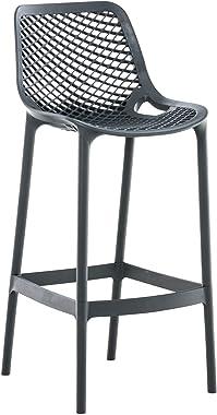 Tabouret De Bar Extérieur Air I Chaise Haute De Jardin en Plastique Dossier Et Repos-Pieds Confortables I Hauteur Assise 75 c