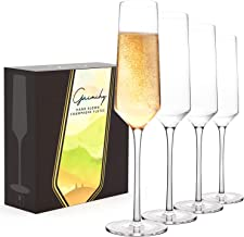 Gnimihz Classy Hand Blown Champagne Flutes - Crystal Champagne Glasses Set of 4 with Upscale Angular Design, 100% Lead-Fre...