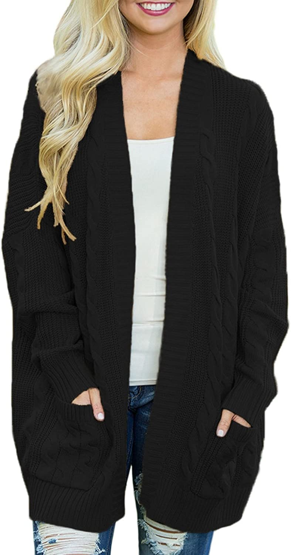 Dearlove Women's Oversized Long Sleeve Open Front Knit Cardigan Sweater with Pocket S-XXL