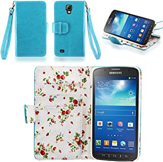 IZENGATE Samsung Galaxy S4 Active I9295 Elegant Floral Skin Premium PU Leather Wallet Flip Case Cover Folio Stand (Turquoise Blue)