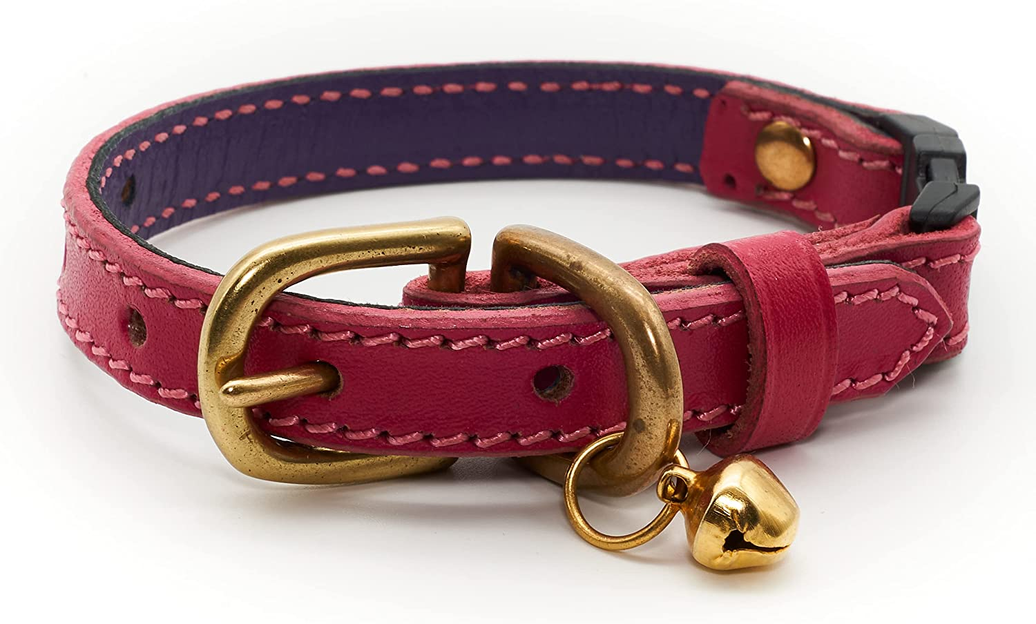 Leather Cat Max 76% OFF Quantity limited Collar – Pink Bell Kitten a with