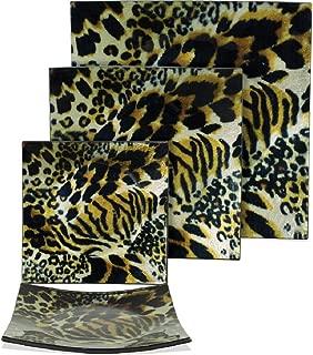Animal Print Glass 3 Piece Plate Set, Tiger, Leopard & Cheetah Mix