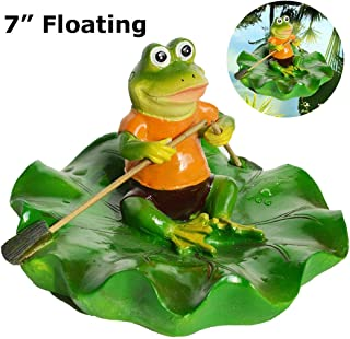SIGMALL Floating Pond Decor, Funny Rowing Frog Statue, Outdoor Simulation Resin Cute Frog Sitting on Lotus Leaf, Floater for Home Pool Lawn Decoration Garden Art in Water (Rowing Frog)