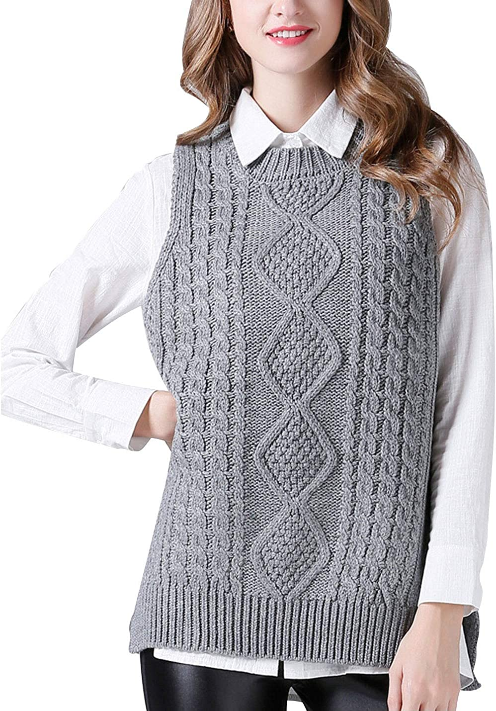 PUWEI Women's O Neck Sleeveless Pullover Cable Knitted Sweater Vests Jumpers