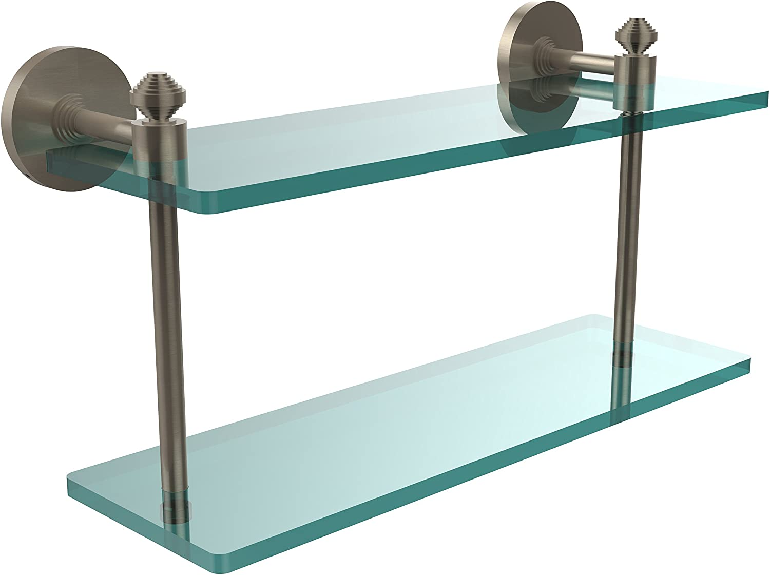 Allied Brass SB-2 16-PEW Southbeach Collection 16-Inch by 5-Inch Double Glass Shelf, Antique Pewter