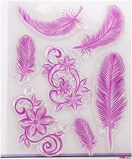 Mimgo Clear Feather Transparent Stamp DIY Craft Silicone Rubber Scrapbooking Decor