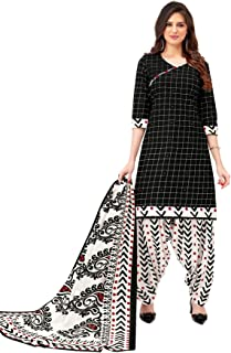 S Salwar Studio Women's Black & White Cotton Printed Readymade Salwar Suit Set(SS-SHREE-GANESH-5113_Black_L,XL,XXL)