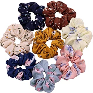 DKB Printed Hair Scrunchies Hair Ponytail Holder in Satin Fabric For Girl And Women Multi-color Set Of-12