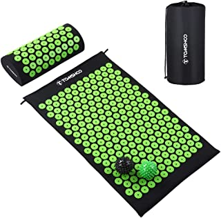 TOMSHOO Acupressure Set, Acupressure Mat and Pillow with 2pcs Massage Balls- Pain Relief Therapy Muscle Back Neck with Travel Bag for Men and Women