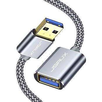 JSAUX USB 3.0延長ケーブル2M 高速5Gbpsデータ転送 aオス-aメス USBケーブル 延長コード 金メッキコネクタ プリンター、スキャナー、カメラ、USBディスク、キーボードに対応 グレー