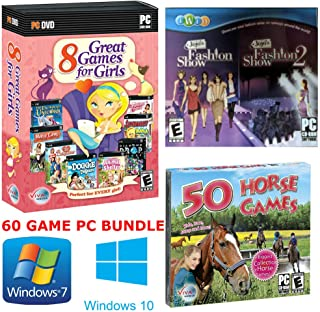 60 Game Bundle: The Enchanted Unicorn, Diamond Drop Deluxe, Supermarket Mania, Doggie Daycare, Horse Camp, My Dream Job Babysitter, Jojo's Fashion Show 1 + 2, 50 Horse Games and More! [Windows 7 | 10]