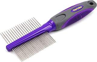 Hertzko Double Sided Pet Comb Dog and Cat Grooming Comb - Closely Spaced Teeth removes Dirt and shed Hair While The Wider ...