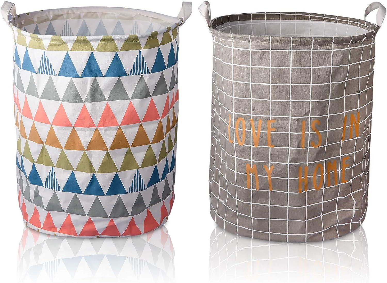 Viyuse 2pcs Large Storage Laundry Baskets waterproof Canvas Fabric Collapsible Organizer Basket for Storage Bin Toy Bins Gift Baskets