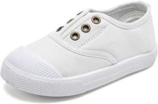Kids Canvas Sneaker Slip-on Baby Boys Girls Casual Fashion Shoes-CAND041-TH1.White-22