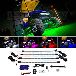 LEDGlow 4pc Million Color LED Golf Cart Underbody Underglow Accent Neon Light Kit for EZGO Yamaha Club Car - Water Resistant Flexible Tubes - Includes Control Box & Wireless Remote