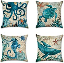 Anna Supermarket 4 Pack Ocean Theme Mediterranean style Cotton Linen Square Decorative Throw Pillow Case Cushion Cover Starfish,Sea Horse,Shell&Conches 18 X 18 (Set One)