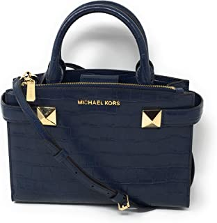 6a2438df11f0 MICHAEL KORS KARLA SMALL EAST WEST SATCHEL EBMOSSED LEATHER NAVY