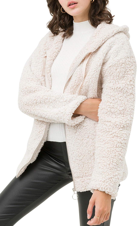 FASHION BOOMY Women's Oversized Shearling Teddy Bear Jacket - Faux Fur Hoodie Zip Up Coat - Regular and Plus Sizes