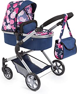 Bayer Design 18169AA Doll's Pram City Neo with Changing Bag and Underneath Shopping Basket, Convertable to a Pushchair, Blue/Pink