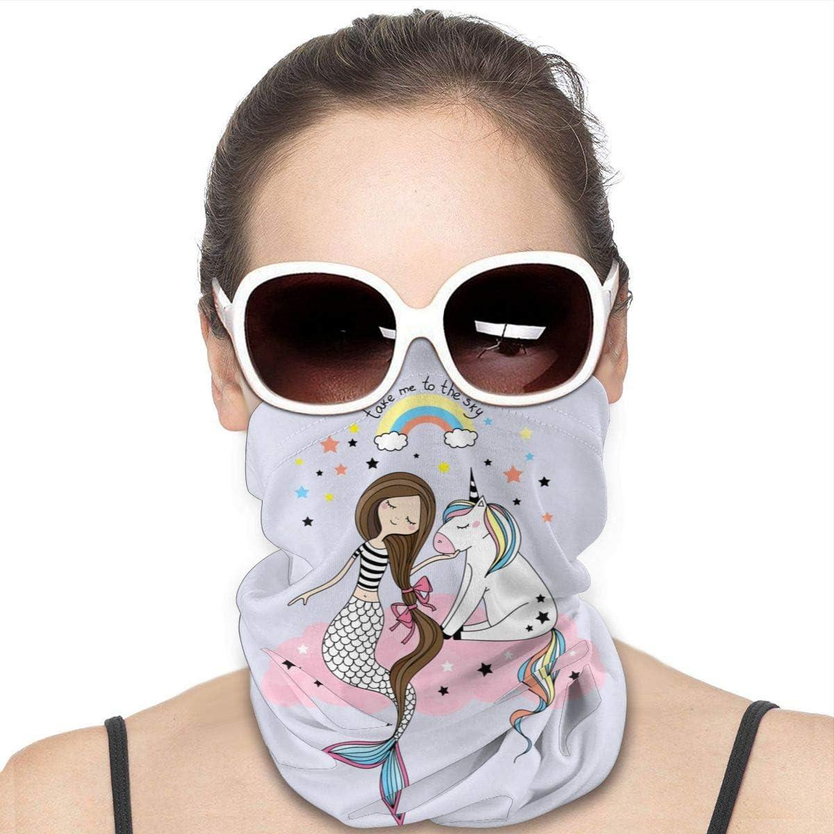 KiuLoam Women Bandanas Face Mask, Cute Mermaid Unicorn Neck Gaiter Mask Headband for Men Face Scarf Dust, Outdoors, Sports