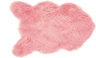 Soft Faux Fur Chair Couch Cover Area Rug for Bedroom Floor Sofa Living Room (2 x 3 ft Sheepskin, Pink)