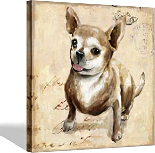 """Chihuahua Dog Painting Wall Art: Cute Animal Artwork Watercolor Dog Picture for Living Room (20"""" x 20"""" x 1 Panel)"""