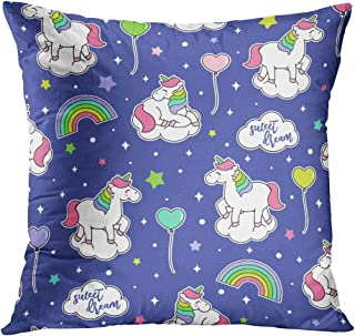 Llsty Throw Pillow Cover 20 x 20 inches Cute Unicorn Rainbow Balloon Pattern Polyester Print Soft Square for Couch Sofa Bedroom Pillowcase Hidden Zipper Home Style Cushion Case