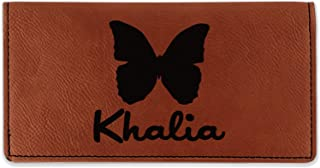 Butterflies Leatherette Checkbook Holder - Single Sided (Personalized)