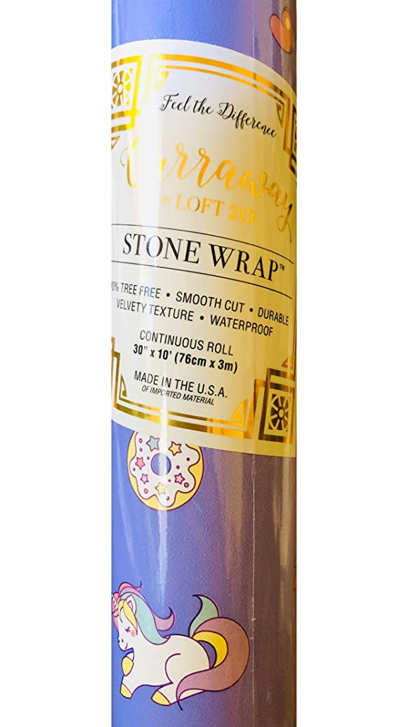 Carraway My Little Unicorns Continuous Gift Wrap Roll, Rich Mineral Paper Made from Stone, Purple