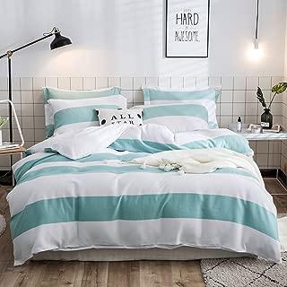 Lausonhouse Cotton Duvet Cover Set,100% Cotton Yarn Dyed Waffle Woven Duvet Cover Set,Striped Duvet Cover with 2 Pieces Pillowshams,3 Pieces Bedding Set - Queen