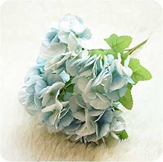 Tamia-Romtic 5 Head Hydrangea Artificial Flowers White Small Silk Fake Flowers Floral Faux Flowers Blue Wedding Home Party Decoration,Blue