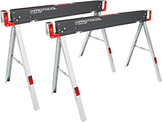 PROTOCOL Equipment Work Table Folding Sawhorses, Set of Two, Durable Steel Construction, Folding Legs, 2x4 Table Support A...