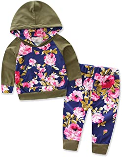 Baby Girls Floral Hoodie+ Floral Pant Set Leggings 2 Piece Outfits