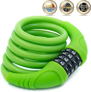 Silicone Covered Bike Cable Lock -SUSEMSE G503 Self-Coiling 1350MM*10MM UV Resistance Anti Scratch Resettable Combination Bike Lock for Sporting Bicycle Cycling