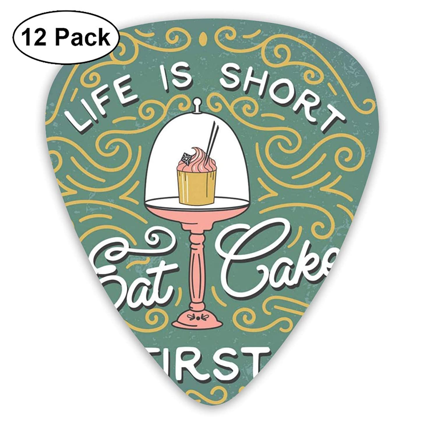 Celluloid Guitar Picks - 12 Pack,Abstract Art Colorful Designs,Vintage Design Life Is Short Eat Cake First Lettering With Cute Cupcake In Service,For Bass Electric & Acoustic Guitars.