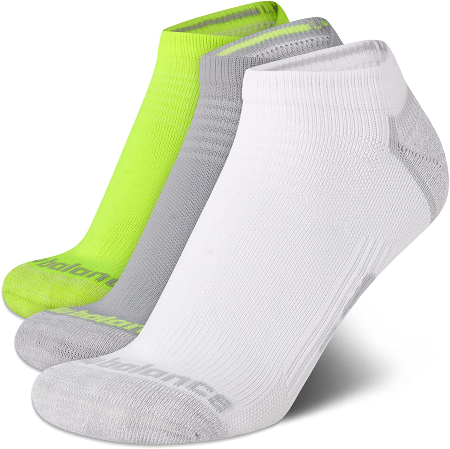 New Balance Women's 3 Pack Cushioned Moisture Wicking No Show Socks with Arch Support