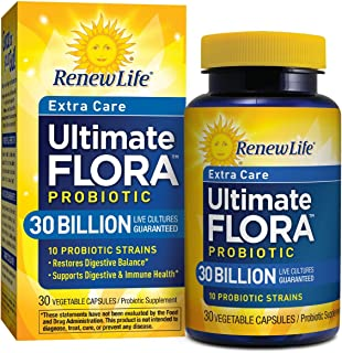 Renew Life Adult Probiotic - Ultimate Flora Probiotic Extra Care, Shelf Stable Probiotic Supplement Vegetable Capsules, 30...