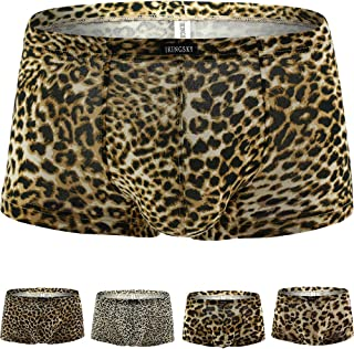 iKingsky Leopard Boxer Briefs Men's Stretch Shorts Low Rise Pouch Trunks Soft Mens Under Panties