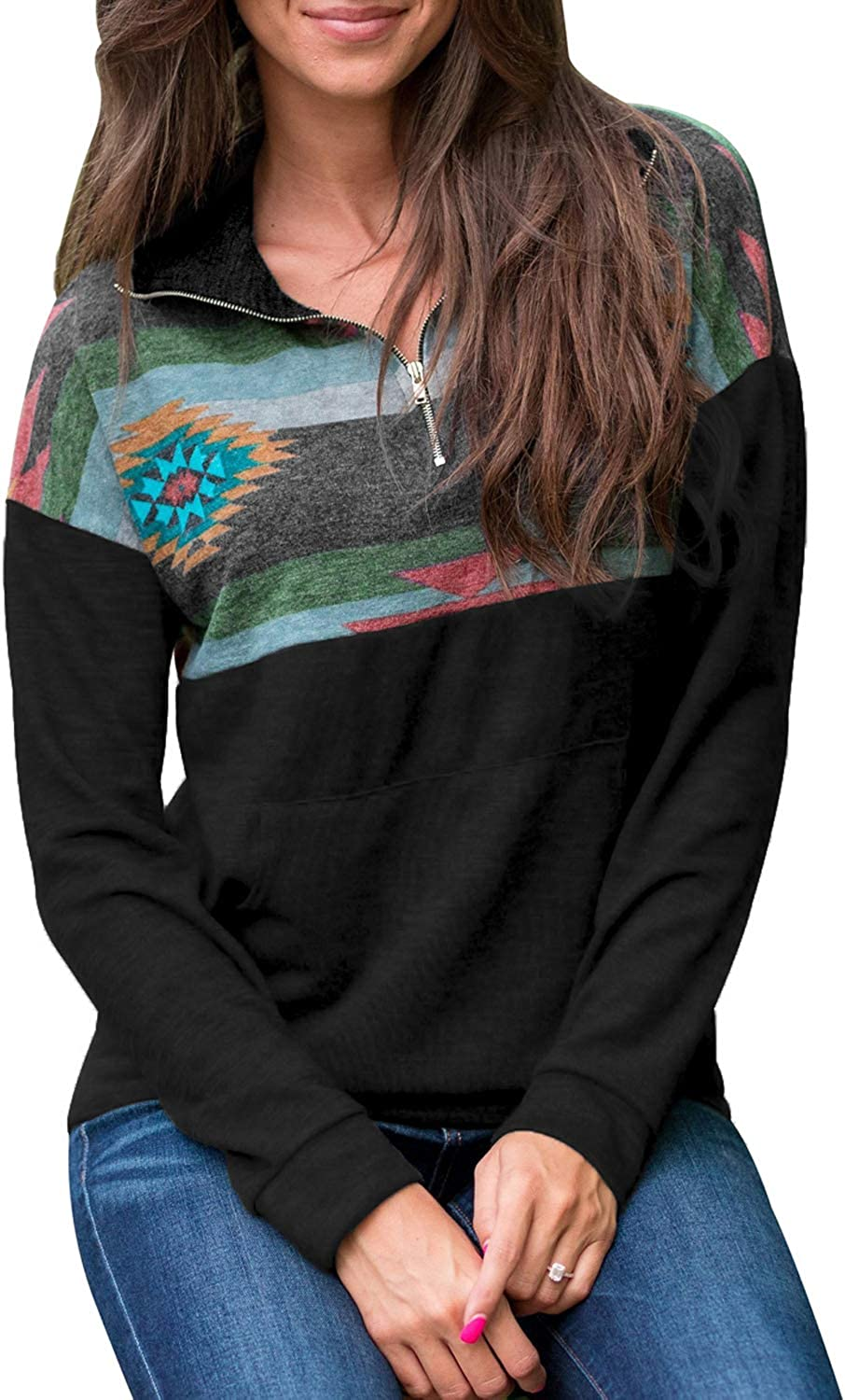 HOTAPEI Womens 1/4 Zipper Color Block Sweatshirts Casual Long Sleeve Aztec Printed Pullover Tops with Pockets S-XXL