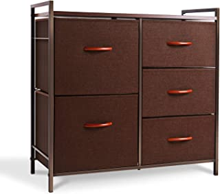ROMOON Dresser Organizer with 5 Drawers, Fabric Dresser Tower for Bedroom, Hallway, Entryway, Closets - Espresso