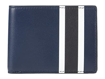 Shinola Detroit Striped Slim Bifold Smooth Grain Leather (Navy Multi) Wallet Handbags
